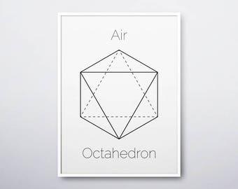 Octahedron Print, Geometric Art, Sacred Geometry, Platonic Solids, Octahedron, Modern Home Decor, Modern Home Wall Art, INSTANT DOWNLOAD
