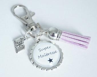Super teacher bag charm - lilac Keyring