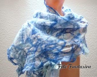 Nuno felted scarf, silk scarf, befilzter, Hårruller blue, scarf