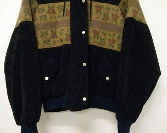 80's 90's Tokyo Japan VINTAGE Suede and Embroidered Sukajan Pattern Unisex Jacket Hoodie Zip Button Jacket