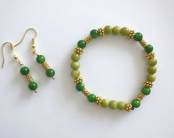 Hand-made green  and gold bracelet with matching earrings