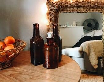 Set of old bottles and amber bottle