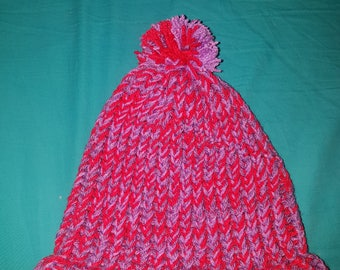 Purple & fuschia knitted hat // knitted hat // warm winter hat