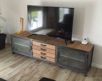 Metal and wood industrial style TV cabinet