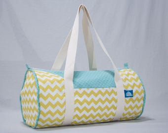 """Calf"" - zig zag yellow & blue scales duffel bag"