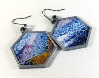 3D Printed Hexagon Earrings with Acrylic Pour Inset, sealed in resin