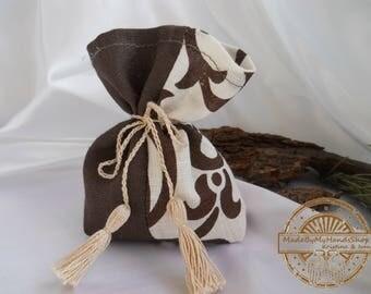 Lavender, mint, pine, brown and beige sachet aroma bag, of natural fabric, linen, fragrant sachet, handmade, bag with herbs, gift bag, eco