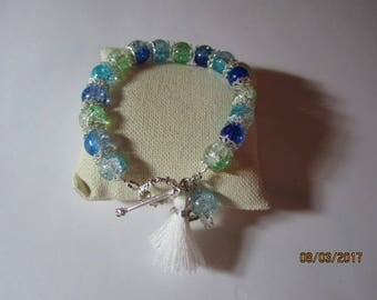 Sparkling glass beads with soft white tassel