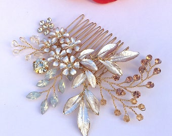 Vintage Floral Hair comb Crystal hairpiece Sparkly Hair accessories bridesmaid hair comb gold hair comb flower hair comb floral hair piece