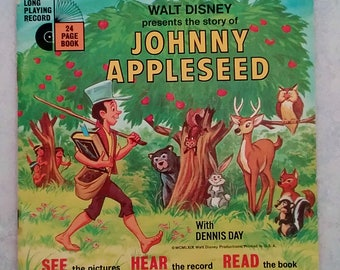 Johnny Appleseed, Disneyland Record and Book, 33-1/2 RPM record, 1969, Walt Disney Productions, songs sung by Dennis Day, Read-Along book