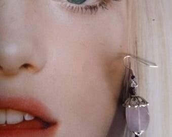 B-04 earrings natural stone blue or purple lustrine