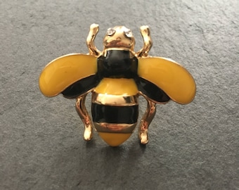 Bee Pin Badge, enamel and gold