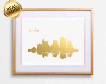 San Jose City Skyline Gold Print, Real Gold Foil Print, San Jose City Poster, San Jose Wall Art, San Jose City Print, GoldenGraphy