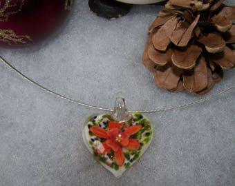 heart style murano white & orange flower