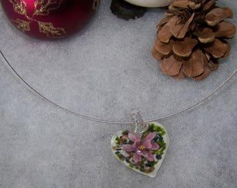heart style murano white & pink flower