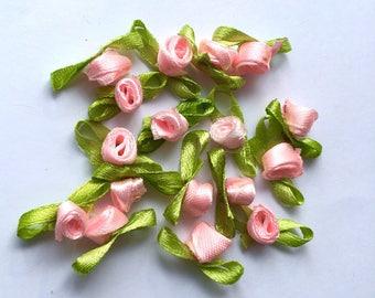 10 small flowers Ribbon satin Pink salmon 8 x 20 mm (H67)