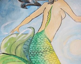Original watercolor painting mermaid