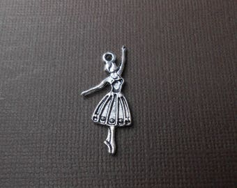 Charm or pendant 31 mm x 13 mm silver-plated dancer