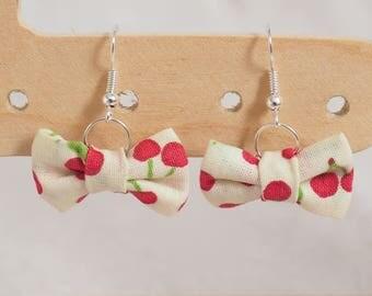 Bow - cherries earrings