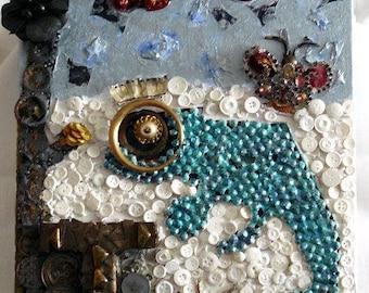 upcycled table ' Chameleon art