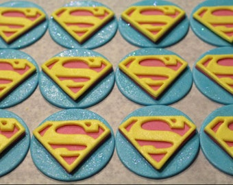 12 Supergirl Edible Sparkly Fondant Cupcake Toppers