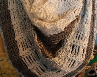 Misty web mini shawl and slouchy hat set