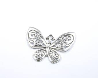 BR193 - large silver Butterfly charm