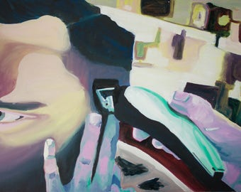 Oil painitng-abstract-At the barbershop-series