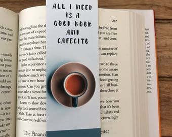 Coffee Lover gift,  Bookworm for her, Cafecito Bookmark, Gift ideas for book lovers, Cute Bookmark, Gift for Reader, Gift for Bookworm
