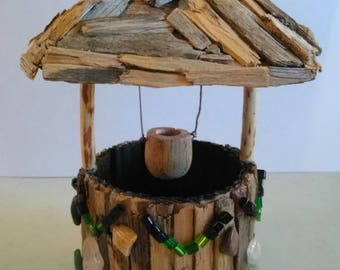 Fairy Miniature Rustic Wishing Well of Twigs, Stones, Beads, Crystals, Tree Bark and Wood Dowel