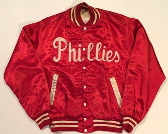 Spectacular Vintage Circa 1950's Philadelphia Phillies Satin Fitt Brothers Brand Jacket Coat - Size Large
