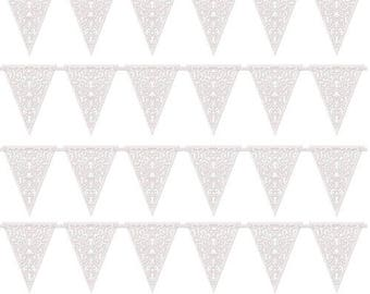 12ft White Lace Flag Bunting
