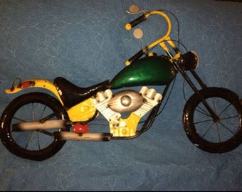 Recycled Metal Green and Yellow Motorcycle Wall Decor