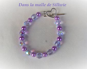 Purple glass bead and swarovski crystal bracelet