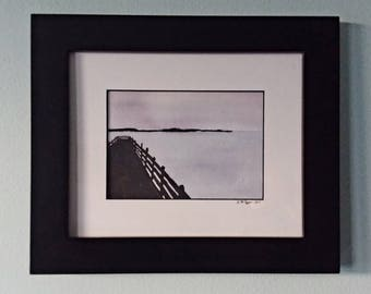 "Purple Pier 8"" by 10"" Original Watercolor Painting"