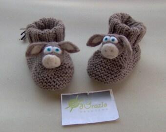 Baby BOOTIES baby little donkeys 100% handmade