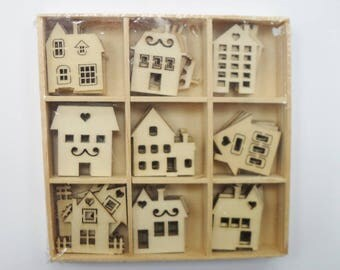 WOODEN HOUSE SHAPES Mixed Festive Laser Cut Birch Wood, Pack of 45 pieces, Xmas Craft Making, Cards,