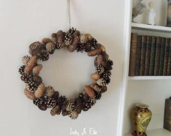 Huge 45cm Natural Pine Cone Wreath, Christmas Decoration, Festive Wall or Door Hanging