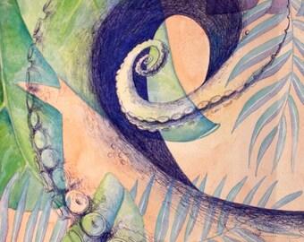 "Out of Place, original watercolour 12x15.5"""