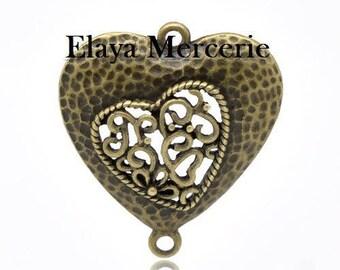 x 1 heart connector metal color bronze