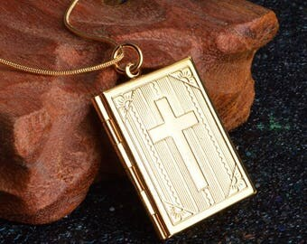 Sterling Square Cross Prayer Box Pendant Necklace