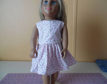 "Pink and Blue flowers on pink background dress for 18"" dolls"