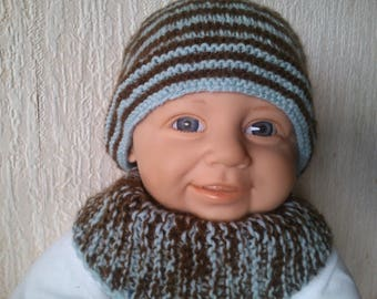 Matching 3 months hand knitted woolen hat and snood