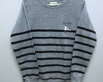 Rare!!! Peanuts Snoopy Sweatshirt Pullover Spellout 'Snoopy' Picture Snoopy Stripes