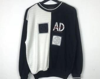 Alain Delon Paris Sweatshirt Pullover Big Logo Spellout Embroidery Multicolors