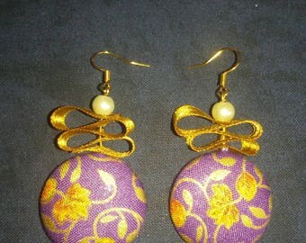 button and Gold hook earrings