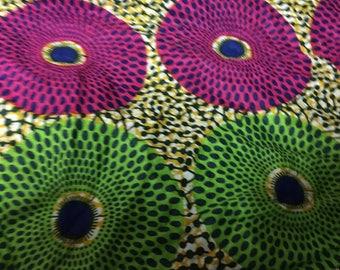 Fuchsia & green coupon 50/50 cm real Wax fabric