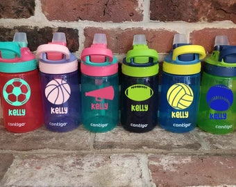 Personalized 14 oz. Kids Water Bottle, Sports Child's Spill Proof Cup, Contigo