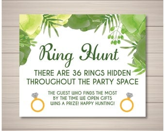 Ring Hunt Bridal Shower Game Customizable Green Flowers Fun Printable
