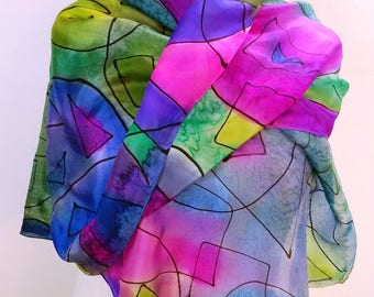 Silk Geometry Blue Purle Scarf Silk ООАК birthday gift Scarf Hand Painted Scarves green Wrap Handpainted Scarf  Silk Blue Scarf Gift For Her